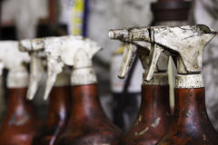 Spray bottles detail Stock Photography
