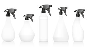 Spray Bottles Variations Set Blank White Royalty Free Stock Images