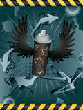 Spray Can. Vector abstract grunge background with spray can Royalty Free Stock Image