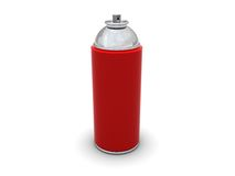 Spray can. 3d illustration of red spray can over white background Stock Images