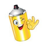 Spray. Can cartoon character ok smiling bottle funny Royalty Free Stock Photos