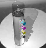 A spray can of paint and a remote control color CMYK. 3d render. A spray can of paint and a remote control color CMYK Royalty Free Stock Images