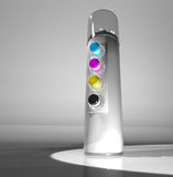 A spray can of paint and a remote control color CMYK. 3d render. Stock Photos