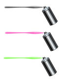 Spray can spraying a line. In black , pink and green Stock Image