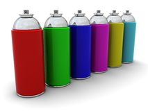 Spray cans. 3d illustration of colorful spray cans over white background Royalty Free Stock Photos