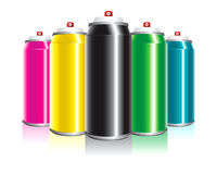 Spray Cans. Colored templates for spray can design purposes Stock Photos