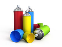Spray cans. On white background Royalty Free Stock Photo