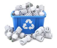 Fluorescent bulbs in blue recycle crate. On white background - 3D illustration vector illustration