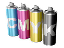 Spray cans with CMYK color. Computer generated image - 3d render Royalty Free Stock Image