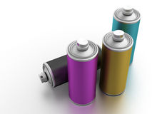 Spray cans with CMYK color. Computer generated image (3d render Royalty Free Stock Photography