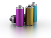 Spray cans with CMYK color. Computer generated image (3d render Royalty Free Stock Image
