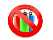 Spray cans with forbidden sign Royalty Free Stock Image