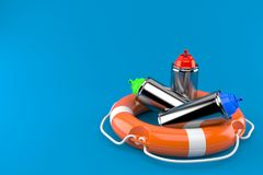 Spray cans with life buoy. On blue background Royalty Free Stock Images