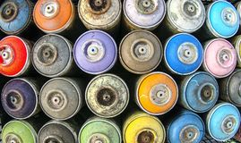Spray cans color pattern stock image