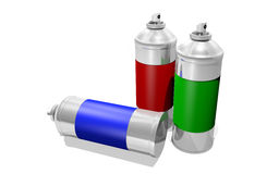 Spray paint cans Stock Image