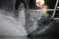 Spray from the car Royalty Free Stock Photo