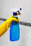 Spray for cleaning in hand Royalty Free Stock Photos