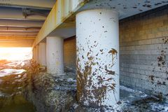 Spray dirt on poles under the bridge on an impassable road. Spray dirt on poles under the bridge on an impassable road Royalty Free Stock Image