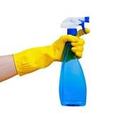 spray för flaskhandholding fotografering för bildbyråer