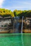 Spray Falls on Lake Superior, Michigan, USA. View to the Spray Falls from the lake, Superior Lake, Michigan, USA stock photo