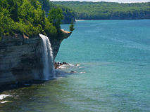 Spray Falls - Michigan UP. Spray Falls plunges into Lake Superior at Pictured Rocks National Lakeshore, Michigan Stock Photo