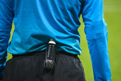 Spray foam on the belt at the referee Stock Images