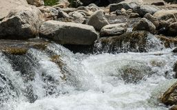 Spray and foam of a mountain river. The picturesque nature of the Rocky Mountains. Colorado, United States. Mountain rapids in the Rocky Mountains. Rocky Stock Photography