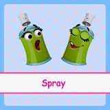 Spray, funny characters on a blue background Stock Image