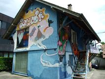 Spray and graffiti painted cottage in Kreuzlingen royalty free stock images