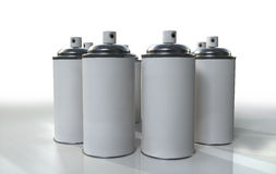 Spray Group. A 3D group of spray cans placed on a reflective background Stock Images