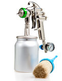 Spray gun And brush.Still-life on a white background Royalty Free Stock Photography