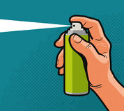 Spray in hand. Comics style design. Cartoon vector illustration Royalty Free Stock Photo