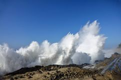 Spray From Huge Waves At Shore Acres State Park, Oregon Stock Photos