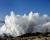 Spray From Huge Waves At Shore Acres State Park, Oregon Stock Images