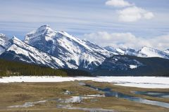Spray Lakes frozen over Royalty Free Stock Images