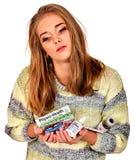 Spray nasale della tenuta della donna, pillola d'imballaggio e compressa Fotografia Stock Libera da Diritti