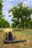 Spray in an orchard. Under blue sky Stock Image