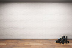 Spray paint bottle. Black spray paint bottle and blank white brick wall, 3D Rendering Stock Photography