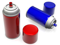 Spray paint cans. 3D rendering of red and blue, high gloss spray paint cans on a white background Royalty Free Stock Image