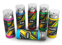 Spray paint cans. Set of color spray paint cans isolated on white background Stock Photos