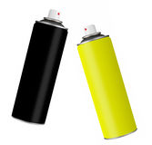 Spray paint cans - black and yellow, isolated over white Royalty Free Stock Photography