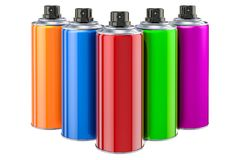 Spray paint cans closeup. 3D rendering. Isolated on white background Stock Photo