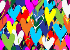 Spray paint colorful hearts pattern. Spray paint colorful hearts seamless pattern Stock Images