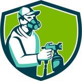 Spray Paint Gun Painter Spraying Shield Retro Stock Images