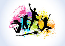 Spray Paint Happy People. Jumping people set against spray paint elements Stock Photo