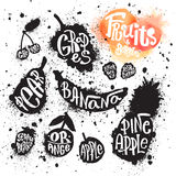 Spray paint set of ink splatter fruits and berries silhouettes. Spray paint set of ink splatter fruits and berries silhouette illustrations with handwritten royalty free illustration