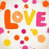 Spray paint watercolor vector seamless pattern with Love letters Stock Photos