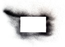 Spray paint on white. Open area for copy space masked from black spray paint Royalty Free Stock Images