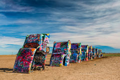 Spray painted cars in the desert