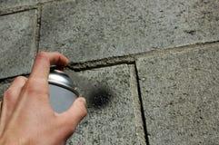 Spray painter. Vandalism or art? Illegal activities stock photos